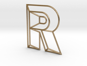 R Typolygon in Polished Gold Steel
