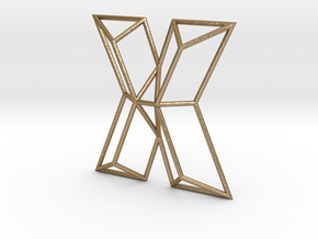 X Typolygon in Polished Gold Steel