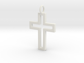 Cross Pendent in White Natural Versatile Plastic