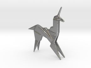 Origami Unicorn in Natural Silver