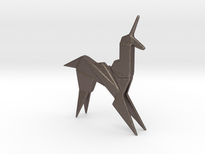 Origami Unicorn in Polished Bronzed Silver Steel