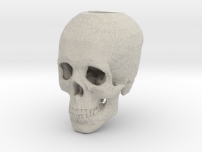 Skull Candle Holder in Natural Sandstone