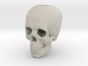 Skull Candle Holder in Natural Sandstone