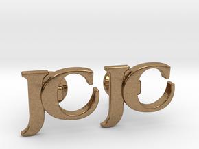 Monogram Cufflinks JC in Natural Brass