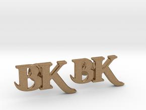 Monogram Cufflinks BK in Natural Brass