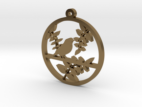 Bird Pendant in Polished Bronze