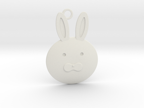Happy Grief Bunny Pendant in White Natural Versatile Plastic