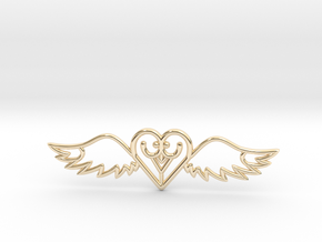 Flying Heart Necklace in 14k Gold Plated Brass