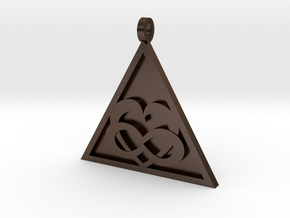 Triangle Infinity Heart Pendant in Polished Bronze Steel