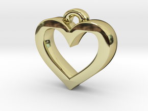 Heart Frame Pendant in 18k Gold Plated Brass