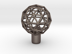 """Shift Knob Geodesic 12x1.25 2.25"""" in Polished Bronzed Silver Steel"""