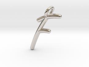 F in Rhodium Plated Brass