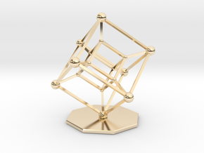 Hypercube in 14k Gold Plated Brass