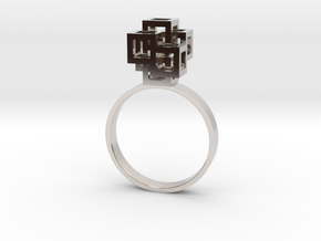 Quadro Ring - US 7 in Rhodium Plated Brass