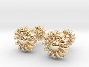 Cufflinks - Flowers in 14k Gold Plated Brass