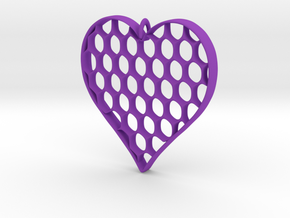 Honey Heart Pendant in Purple Processed Versatile Plastic