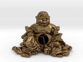 HOTEI AND TREE 2'' in Natural Bronze