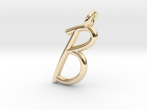 B in 14k Gold Plated Brass