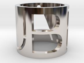 Beau Brand Ring in Rhodium Plated Brass