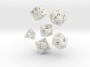 Triforce dice 6 piece set in White Strong & Flexible