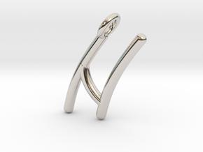 N in Rhodium Plated Brass