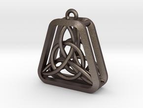 Triad Knot Key Chain in Polished Bronzed Silver Steel