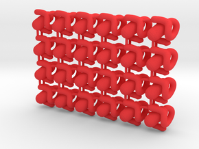 Pandemic Disease Tokens - Type 02 (24 pcs) in Red Processed Versatile Plastic