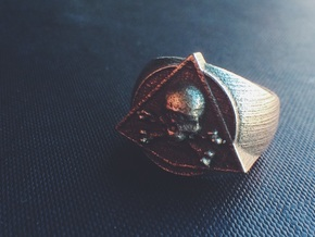 Saint Vitus Ring Size 9 in Polished Bronzed Silver Steel