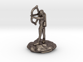 Gnome Bard with Lute and Shortbow in Polished Bronzed Silver Steel