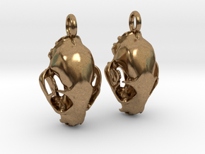 Bobcat Skull Earring Pair (2) - Vertical Loop in Natural Brass