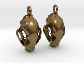 Bobcat Skull Earring Pair (2) - Vertical Loop in Natural Bronze