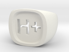 "Transhumanist ""H Plus"" Ring in White Strong & Flexible: 7.5 / 55.5"