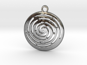 Spiral maze pendant  in Polished Silver
