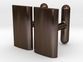 Schwarz cushion cufflinks in Polished Bronze Steel