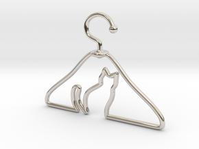 Cat Hanger Pendant in Rhodium Plated Brass