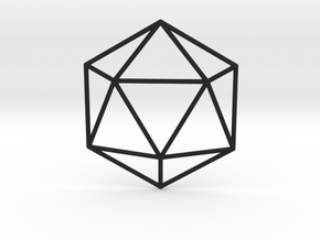 Icosahedron Wireframe in Black Strong & Flexible