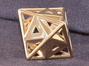 Golden Octahedron Pendant #1 in Polished Brass