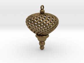 Sphere Swirl Geometric Ornament (thin version) in Raw Bronze