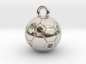 SOCCER BALL C in Rhodium Plated Brass