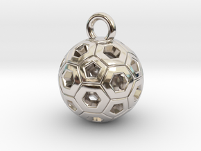 SOCCER BALL E in Rhodium Plated Brass