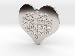 Celtic Knot heart Necklace Pendant in Rhodium Plated Brass