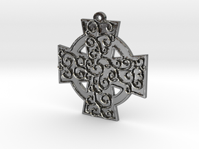 Celtic Cross With Vines Pendant in Polished Silver