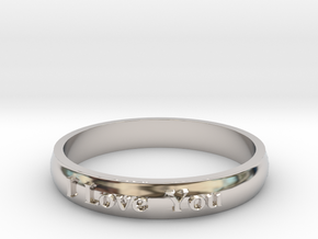 "Ring 'I Love You' - 16.5cm / 0.65"" - Size 6 in Platinum"