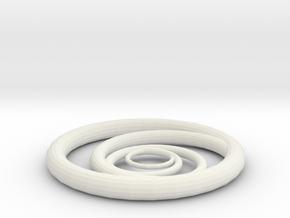 Orbiting Circle Pendant Single Loop in White Natural Versatile Plastic