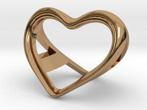 A and a Heart pendant in Polished Brass