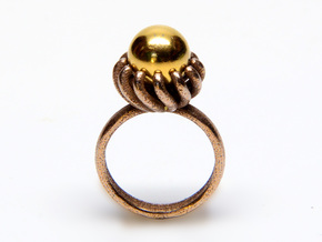 Magnetic Pearl Ring Size 7 in Matte Bronze Steel