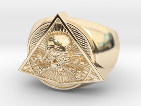 Saint Vitus Ring Size 8 in 14k Gold Plated Brass