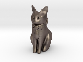 Business Cat in Polished Bronzed Silver Steel