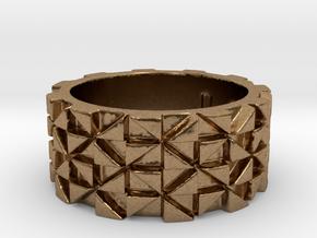 Futuristic Ring Size 4 in Natural Brass