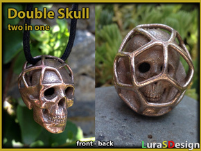 Double Skull Pendant in Stainless Steel